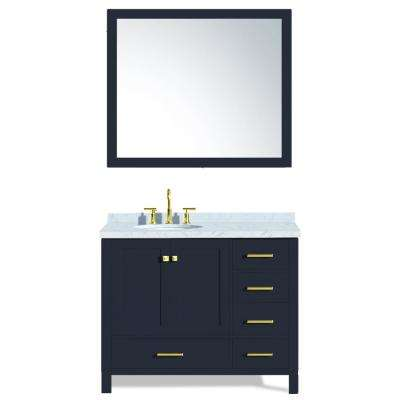 Cambridge 43 in. W x 22 in. D Vanity in Midnight Blue with Marble Vanity Top in White with White Basin and Mirror