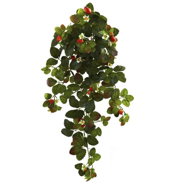 31 in. Strawberry Hanging Bush with Berry (Set of 2)