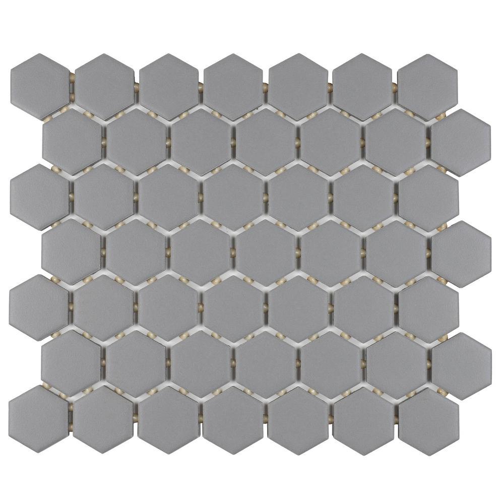 Restore Matte Dove Gray Hexagon 10 in. x 12 in. x 6.35 mm Glazed Ceramic Mosaic Tile (0.81 sq. ft./piece)