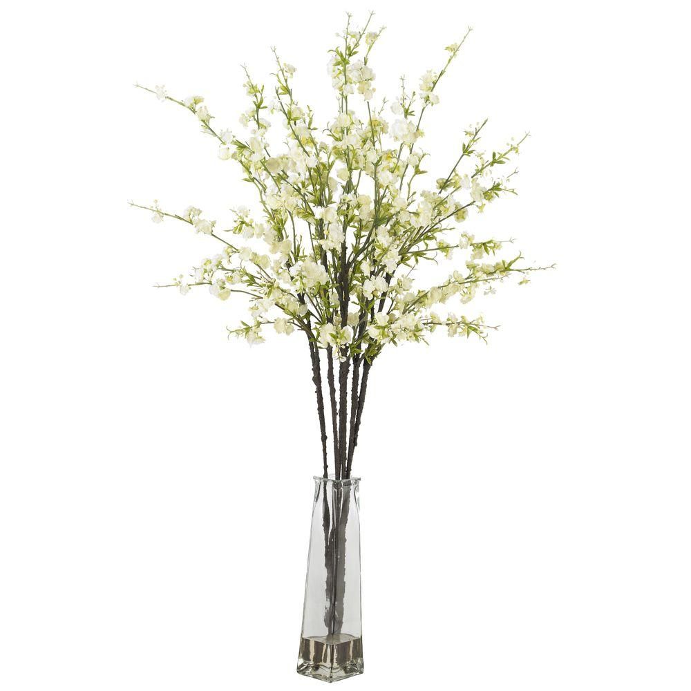 H White Cherry Blossoms With Vase Silk Flower Arrangement