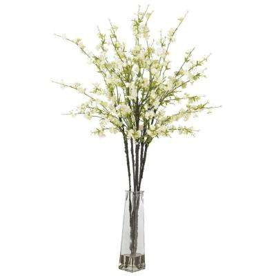 40 in. H White Cherry Blossoms with Vase Silk Flower Arrangement