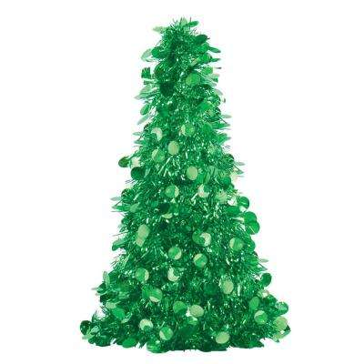10 in. Green Tinsel Tree Centerpiece (6-Pack)