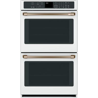 30 in. Smart Double Electric Wall Oven with Convection Self-Clean in Matte White, Fingerprint Resistant