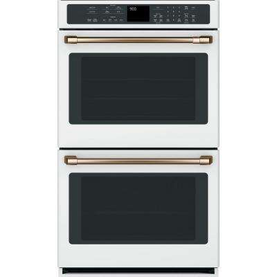 30 in. Double Electric Wall Oven with Convection Self-Clean in Matte White, Fingerprint Resistant