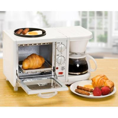 Elite-Cuisine Breakfast Station 500 W 4-Slice White Toaster Oven and Coffee Maker