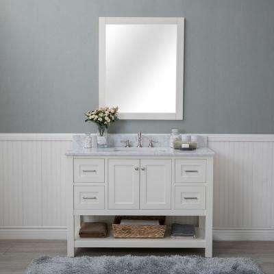 Wilmington 48 in. W x 22 in. D Vanity in Linen White with Marble Vanity Top in White with White Basin and Mirror