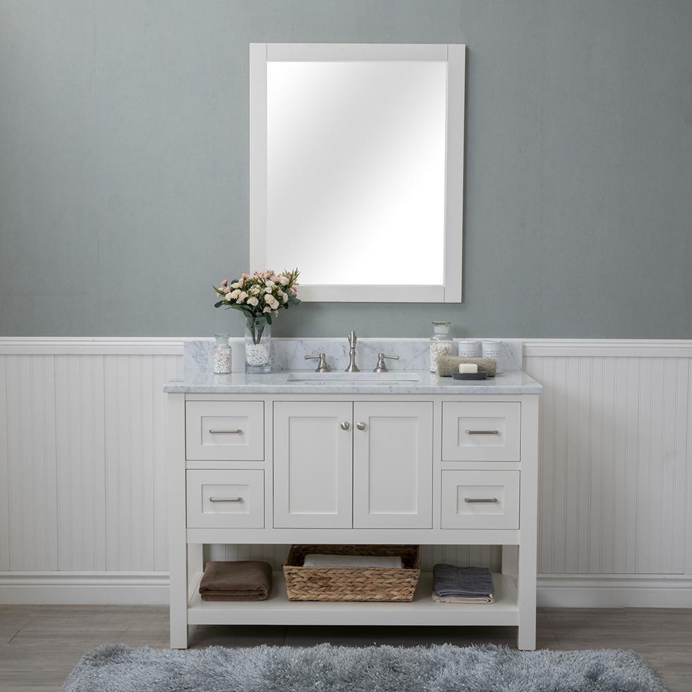 Wilmington 48 in. W x 22 in. D Vanity in Linen White with Marble Vanity Top in White with White Basin and Mirror