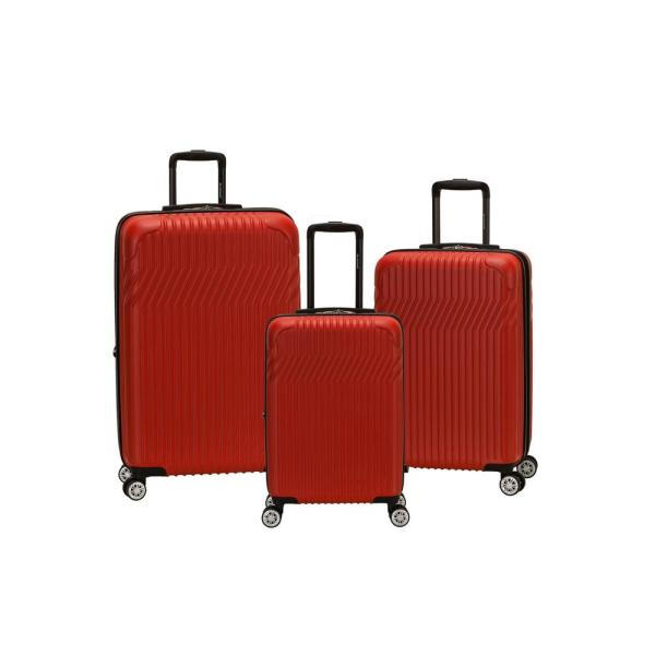 084c71034 Pista Collection 3-Piece Harside Dual Spinner Luggage Set, Red. by Rockland