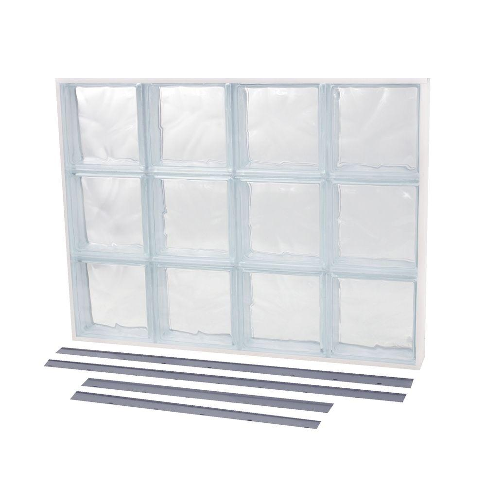 TAFCO WINDOWS 35.375 in. x 21.875 in. NailUp2 Wave Pattern Solid Glass Block Window