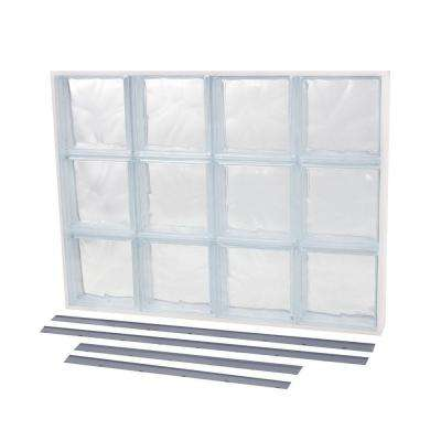 39.375 in. x 21.875 in. NailUp2 Wave Pattern Solid Glass Block Window