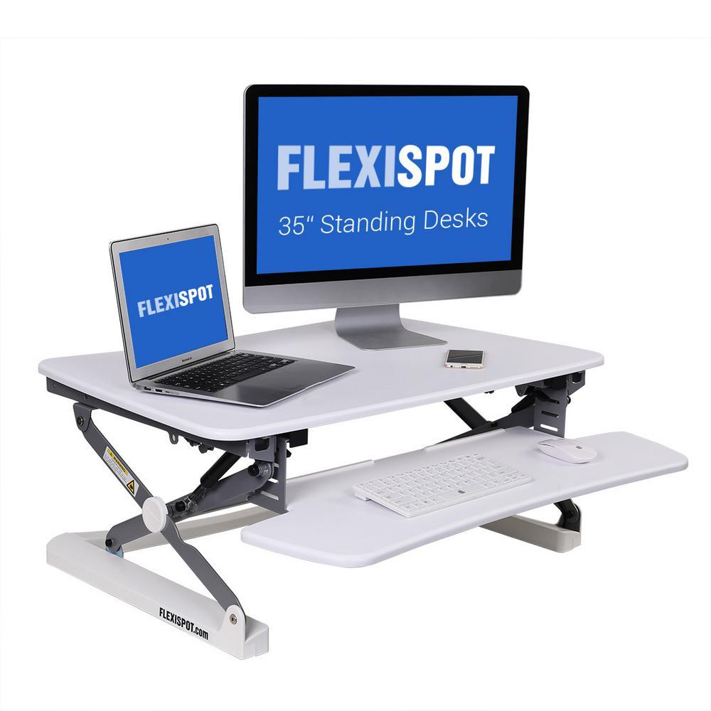 W Platform Height Adjustable Standing Desk Riser Removable Keyboard Tray,  White