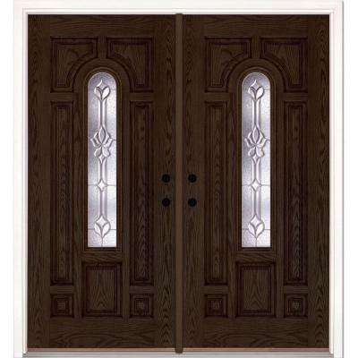 74 in. x 81.625 in. Medina Zinc Center Arch Lite Stained Walnut Oak Left-Hand Fiberglass Double Prehung Front Door