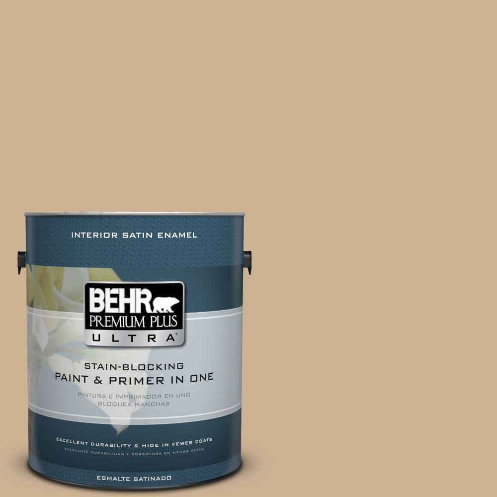 BEHR Premium Plus Ultra 1-gal. #PWL-84 Tropical Tan Satin Enamel Interior Paint