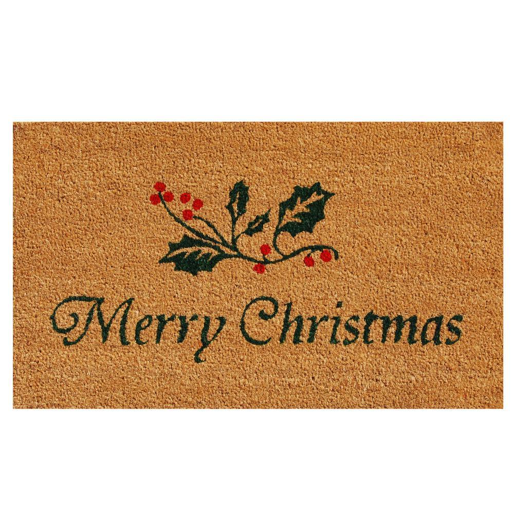 Christmas Holly 17 in. x 29 in. Coir Door Mat