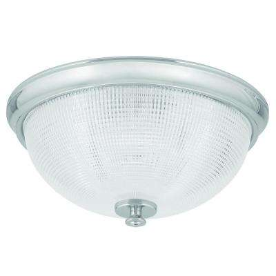 Lucky Collection 1-Light Polished Chrome Flushmount with Clear Double Prismatic Glass