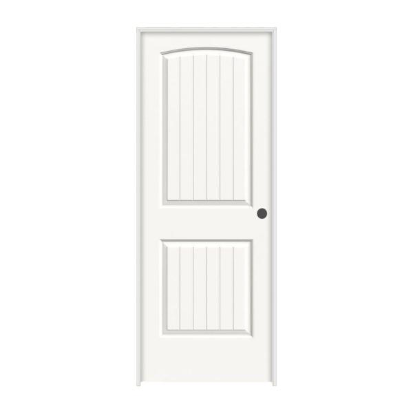 36 in. x 80 in. Santa Fe White Painted Left-Hand Smooth Solid Core Molded Composite MDF Single Prehung Interior Door