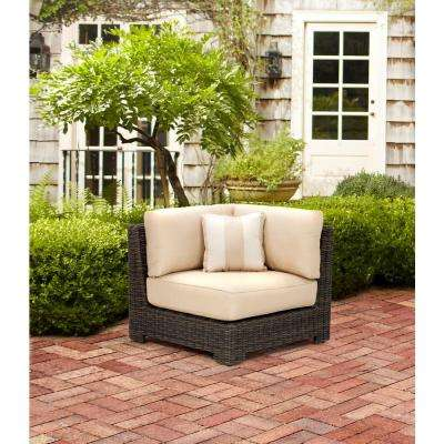 Northshore Patio Corner Sectional Chair in Harvest with Regency Wren Outdoor Throw Pillow -- STOCK