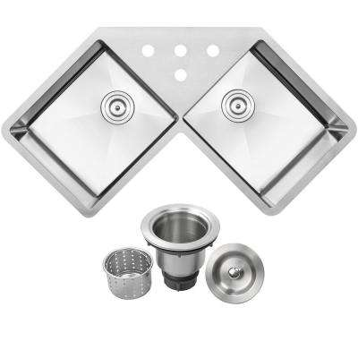 Bradford Corner Undermount 16-Gauge Stainless Steel 44.25 in. 4-Hole Double Basin Kitchen Sink with Basket Strainer