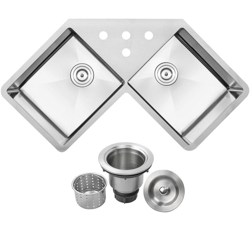 Bradford Corner Undermount 16-Gauge Stainless Steel 44.25 in. 4-Hole Double Basin Kitchen Sink with Basket Strainer