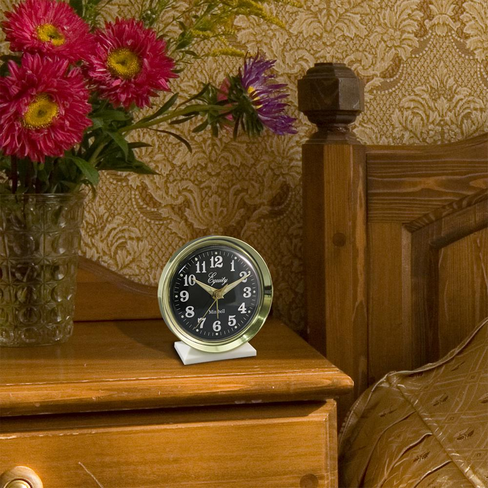 4 in. Round Analog Wind-Up Bell Metal Alarm Clock, Yellow...