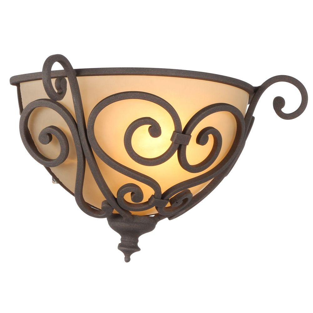 Hampton Bay 1 Light Aged Iron Half Sconce With Scavo Glass