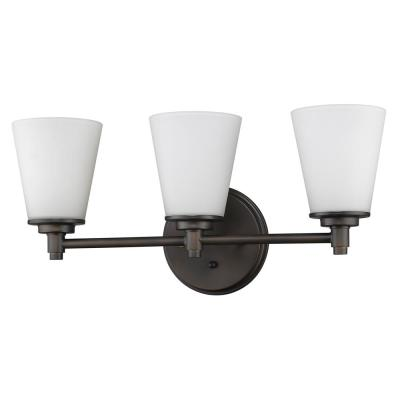 Conti 3-Light Oil-Rubbed Bronze Vanity Light with Etched Glass Shades