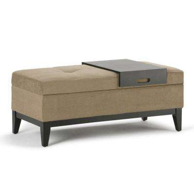 Oregon 42 in. Transitional Storage Ottoman in Khaki Beige Chenille Look Fabric