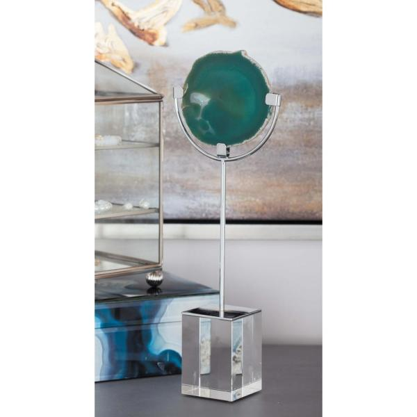 Litton Lane Agate Sculpture with Metal Post and Glass Base 35774