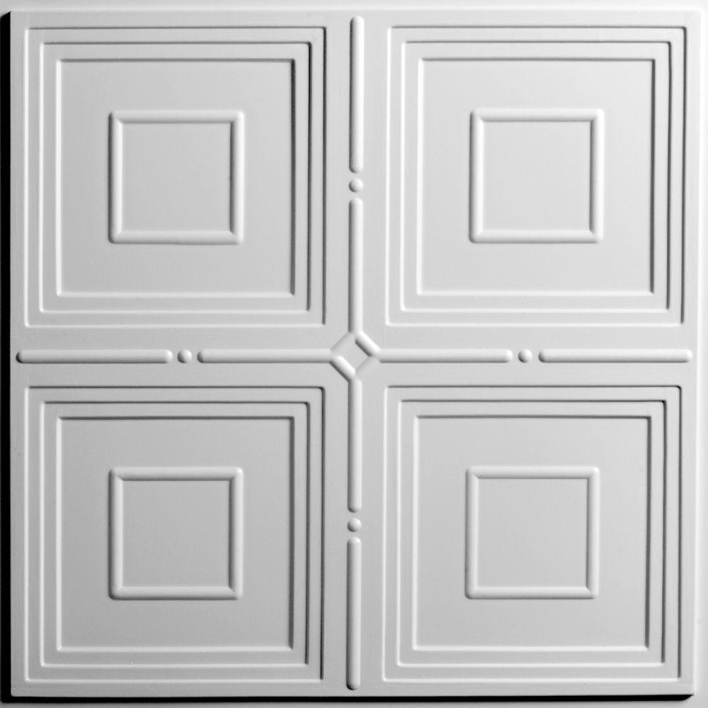 Ceilume Jackson White 2 ft. x 2 ft. Lay-in or Glue-up Ceiling Panel ...