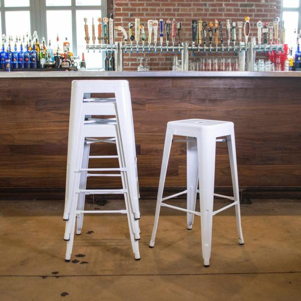 AmeriHome Loft Style 30 in. Stackable Metal Bar Stool in White (Set of 4)