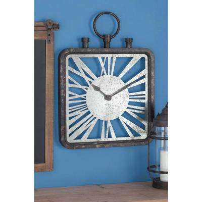 27 in. x 19 in. Rustic Square Wall Clock