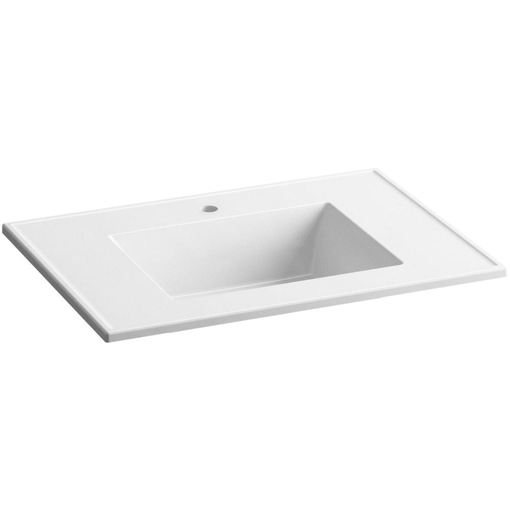Ceramic/Impressions 25 in. Single Faucet Hole Vitreous China Vanity Top with