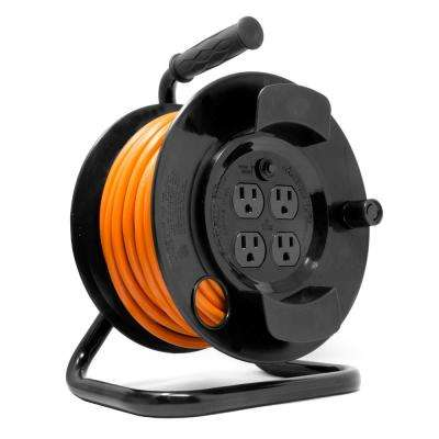 50 ft. 14-Gauge Heavy-Duty SJTW Outdoor 14/3 Extension Cord Reel with NEMA 5-15R Light-Up Power Outlet