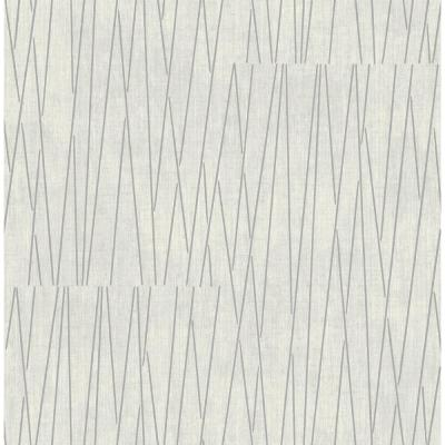 Gidget Lines Metallic Silver and White Wallpaper