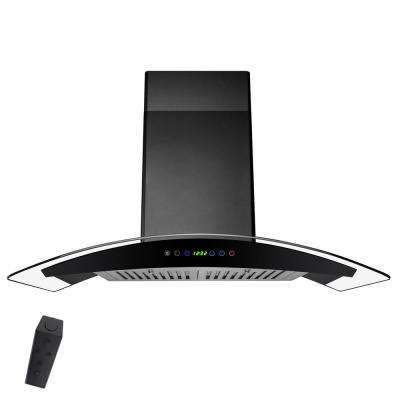 30 in. Convertible Wall Mount Range Hood in Black Painted Stainless Steel with Tempered Glass and Remote Control