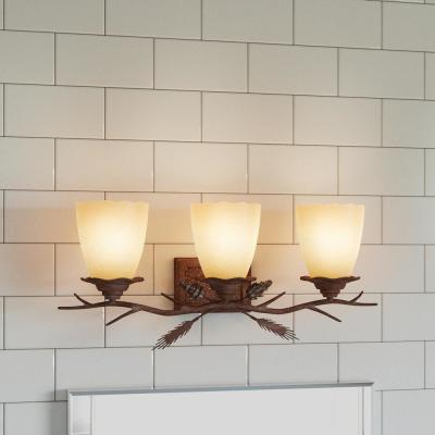 Lodge 3-Light Weathered Spruce Vanity Light with Sunset Glass Shades
