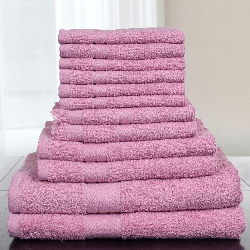 Lavish Home 12-Piece 100% Cotton Towel Set in Rose
