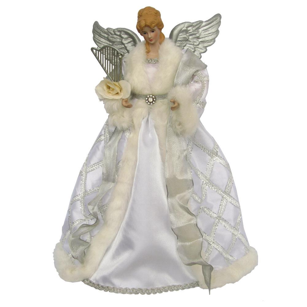 Christmas Tree Angel Tree Topper: Angel 16 In. Silver And White Christmas Tree Topper With