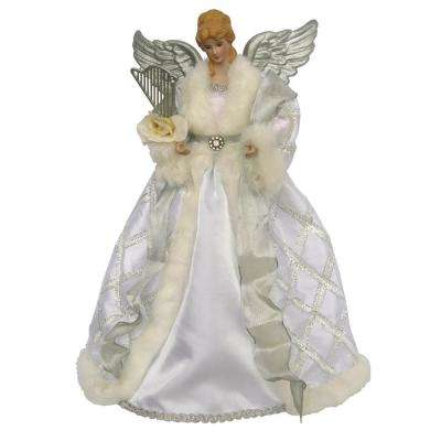 Angel 16 in. Silver and White Christmas Tree Topper with Harp