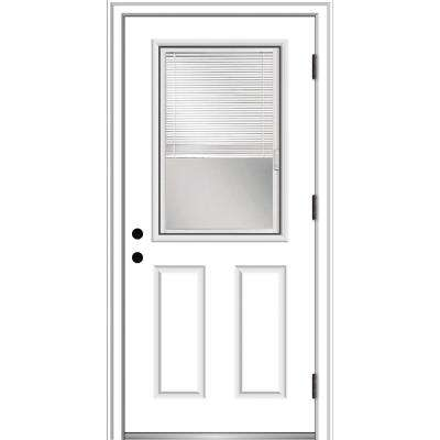 30 in. x 80 in. Internal Blinds Left-Hand Outswing 1/2 Lite 2-Panel Clear Primed Steel Prehung Front Door w/ Brickmould