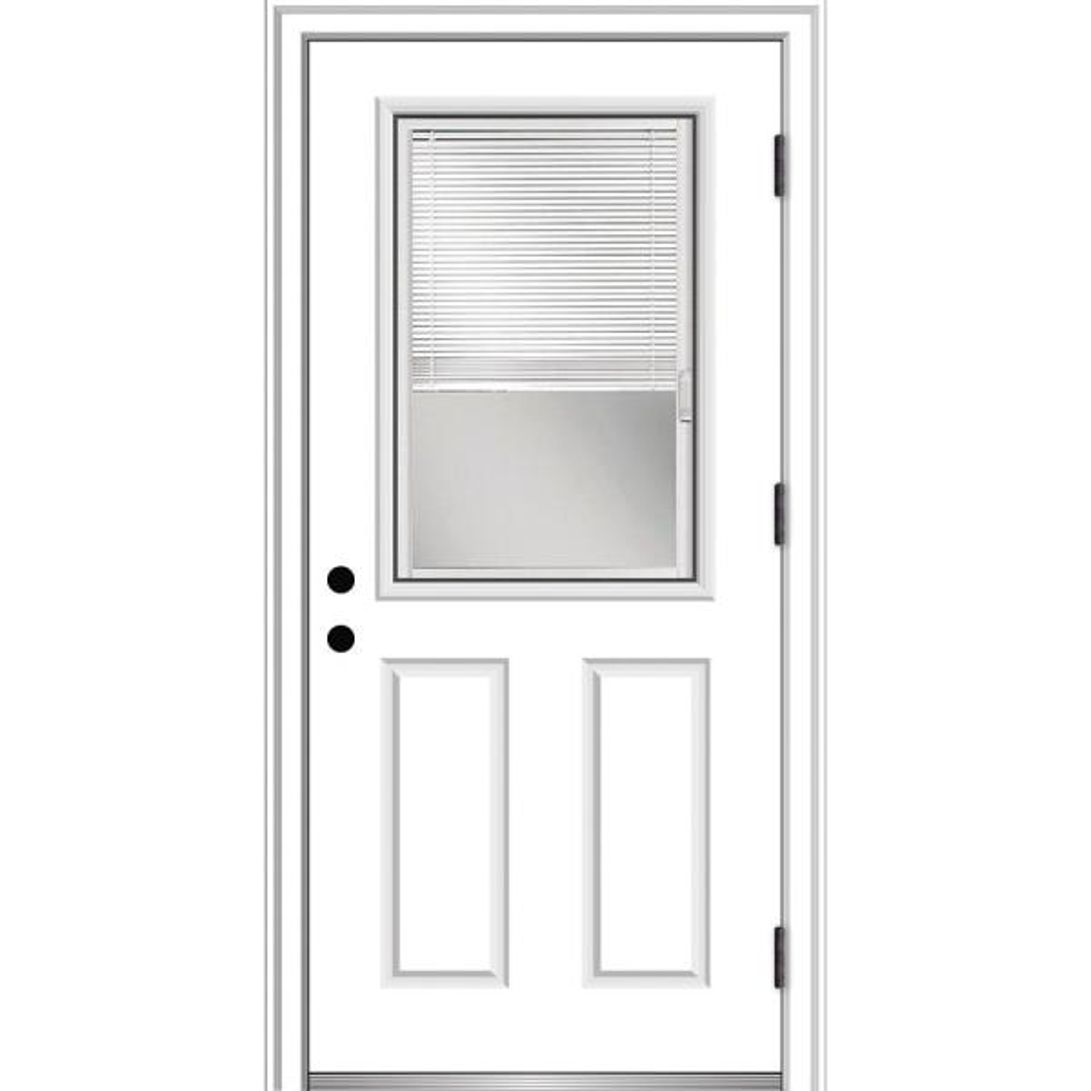 Mmi Door 32 In X 80 In Internal Blinds Left Hand Outswing 1 2 Lite Clear Primed Fiberglass Smooth Prehung Front Door Z002378l The Home Depot