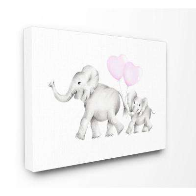 "30 in. x 40 in. ""Mama and Baby Elephants"" by Studio Q Printed Canvas Wall Art"