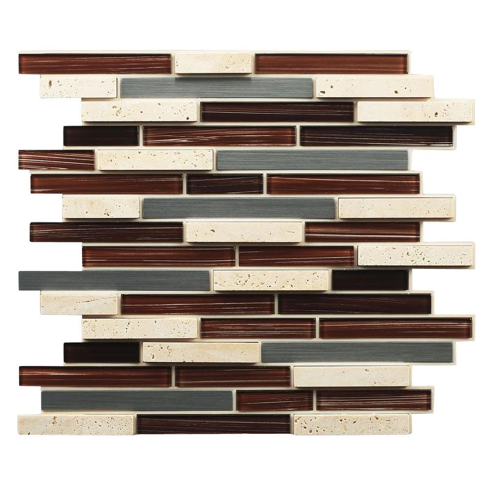 Self Stick Metal Backsplash Tiles Home Depot Metal Tile: Instant Mosaic 12 In. X 13 In. X 7 Mm Peel And Stick Glass