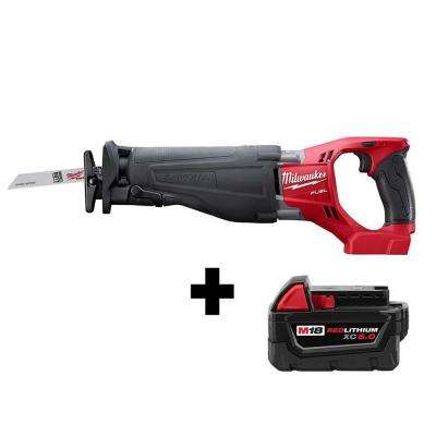 M18 FUEL 18-Volt Lithium-Ion Brushless Cordless SAWZALL Reciprocating Saw with Free M18 5.0Ah Battery