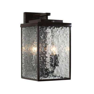 Mission You 2-Light Glossy Bronze Outdoor Sconce with Pressed Glass