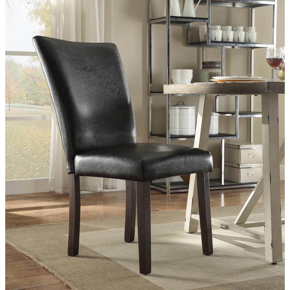 4D Concepts Stabilyne Black Polyurethane Parsons Side Chair (Set Of 2)