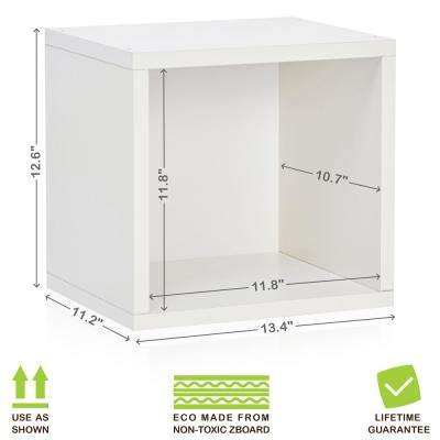 Connect System 13.4 in. x 12.6 in. zBoard  Stackable Open Storage 1-Cube Organizer Unit in Pearl White