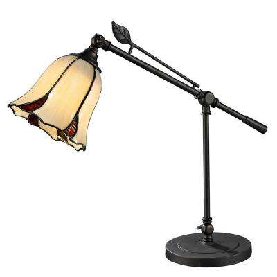 18.75 in. Dark Bronze San Antonio Desk Lamp with Tiffany Art Glass Shade