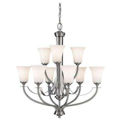 Barrington 9-Light Brushed Nickel Chandelier with Glass Shade