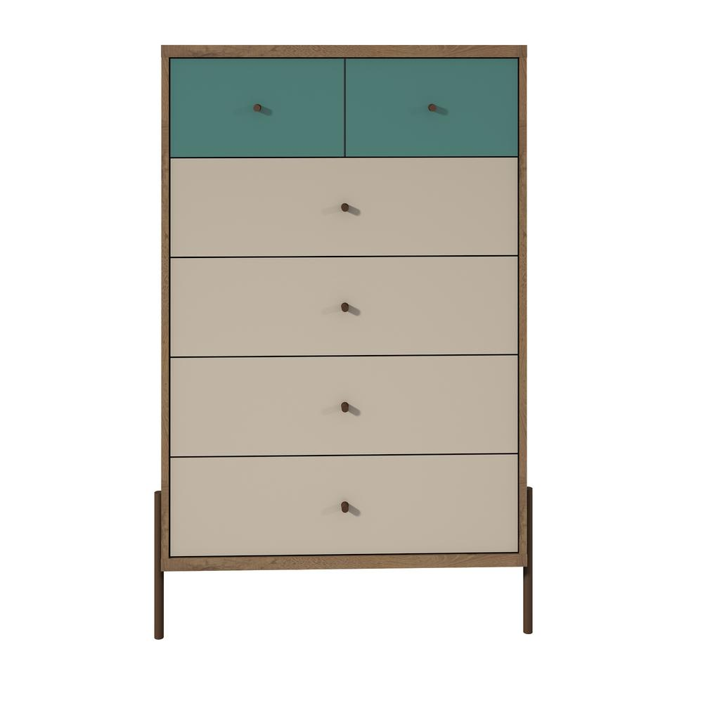 Tall 6 Drawer Blue And Off White Dresser